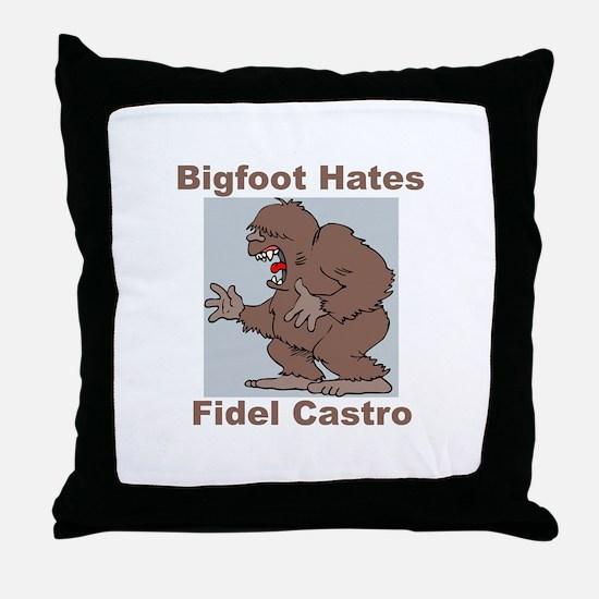 Bigfoot Hates Castro Throw Pillow
