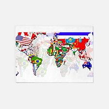 World Flag Map 5'x7'Area Rug