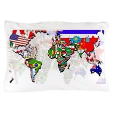 World Flag Map Pillow Case