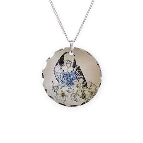 Small Blue Parakeet Necklace Circle Charm