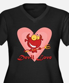 Devil Love Women's Plus Size V-Neck Dark T-Shirt