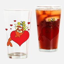 Cute Lobster Girl on Heart Drinking Glass