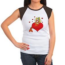 Cute Lobster Girl on Heart Women's Cap Sleeve T-Sh