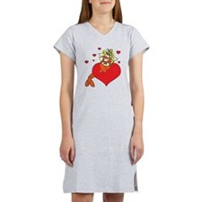 Cute Lobster Girl on Heart Women's Nightshirt