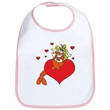 Cute Lobster Girl on Heart Bib