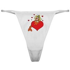 Cute Lobster Girl on Heart Classic Thong