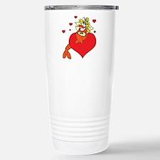 Cute Lobster Girl on Heart Travel Mug