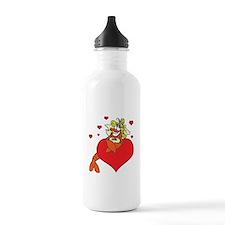 Cute Lobster Girl on Heart Water Bottle