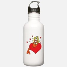 Cute Lobster Girl on Heart Water Bottle