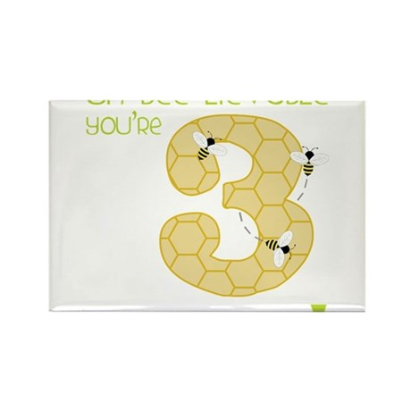 3 Year Old Honey Bee Rectangle Magnet