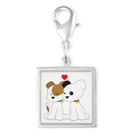 Puppy Couple Silver Square Charm