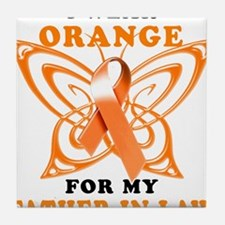 I Wear Orange for my Father in Law Tile Coaster