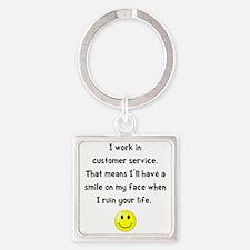 Customer Service Joke Square Keychain
