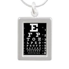 Eye chart gift Silver Portrait Necklace