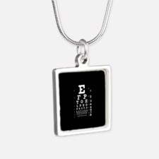 Eye chart gift Silver Square Necklace