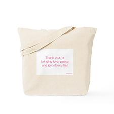 Gratitude Card_love, peace and joy Tote Bag
