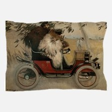 Vintage Painting of Car and Dogs Pillow Case