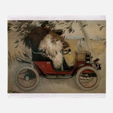 Vintage Painting of Car and Dogs Throw Blanket