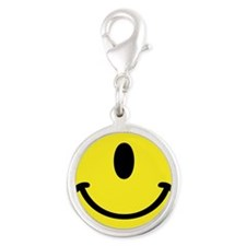 Cyclops Smiley Face Silver Round Charm