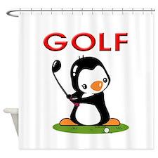 Golf Penguin (2) Shower Curtain