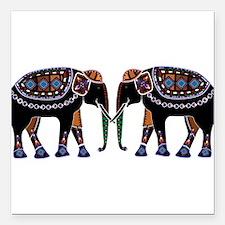 "Painted Elephants Square Car Magnet 3"" x 3"""