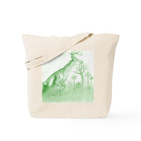 deer jumping green version Tote Bag