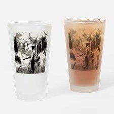 goin hunting / black and white Drinking Glass