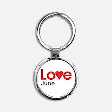 I Love June Round Keychain