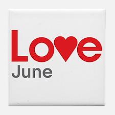 I Love June Tile Coaster