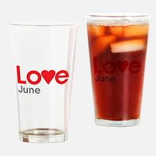 I Love June Drinking Glass