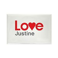 I Love Justine Rectangle Magnet