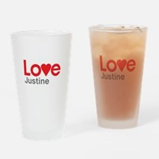I Love Justine Drinking Glass