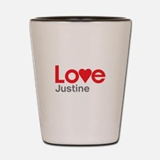I Love Justine Shot Glass