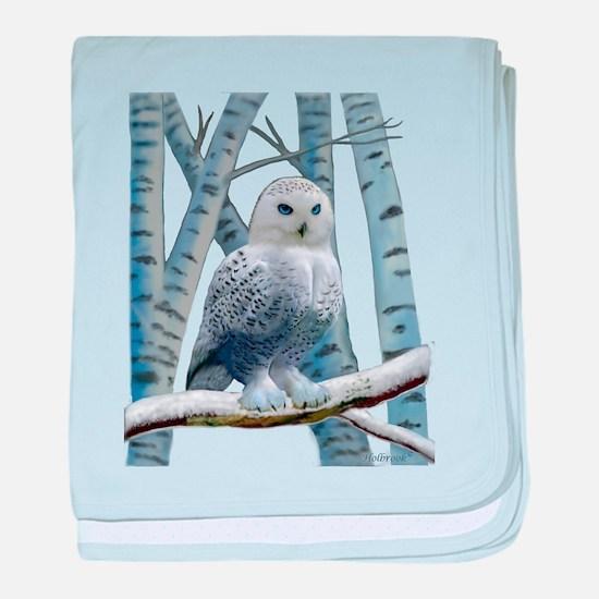 BLUE-EYED SNOW OWL baby blanket