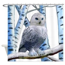 BLUE-EYED SNOW OWL Shower Curtain