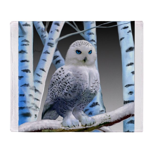 Blue Eyed Snow Owl Throw Blanket By Holbrookart