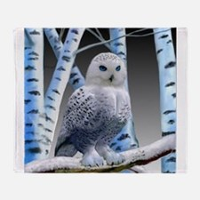 BLUE-EYED SNOW OWL Throw Blanket
