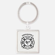 Firefighter Wife Square Keychain