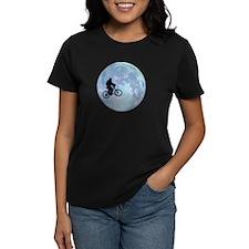Sasquatch On Bike In Sky Against Moon T-Shirt