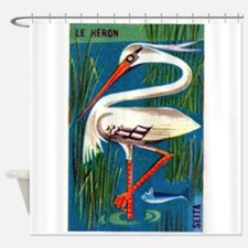 The Heron Fable French Matchbox Label Shower Curta