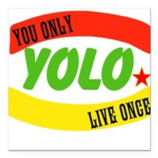 "YOLO WORLD Square Car Magnet 3"" x 3"""