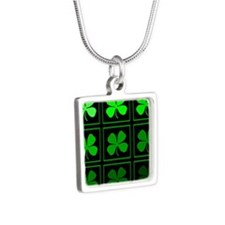 saint patricks day quad darkd Silver Square Neckla