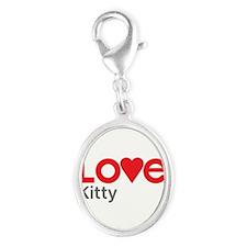 I Love Kitty Silver Oval Charm