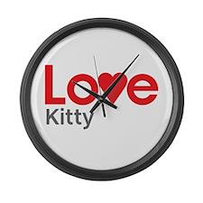 I Love Kitty Large Wall Clock