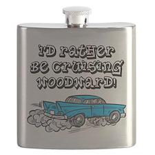 Id Rather Be Cruising Woodward Hotrod Flask