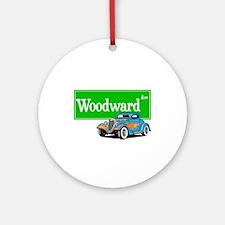 Woodward Blue Hotrod Ornament (Round)