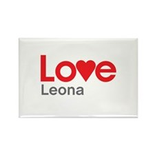 I Love Leona Rectangle Magnet