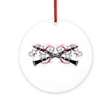 Clarinets with Pink Swirls Ornament (Round)