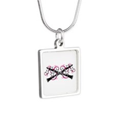 Clarinets with Pink Swirls Silver Square Necklace