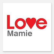 "I Love Mamie Square Car Magnet 3"" x 3"""